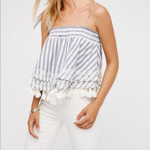 Free People Embroidered Stripe Tube Sz S